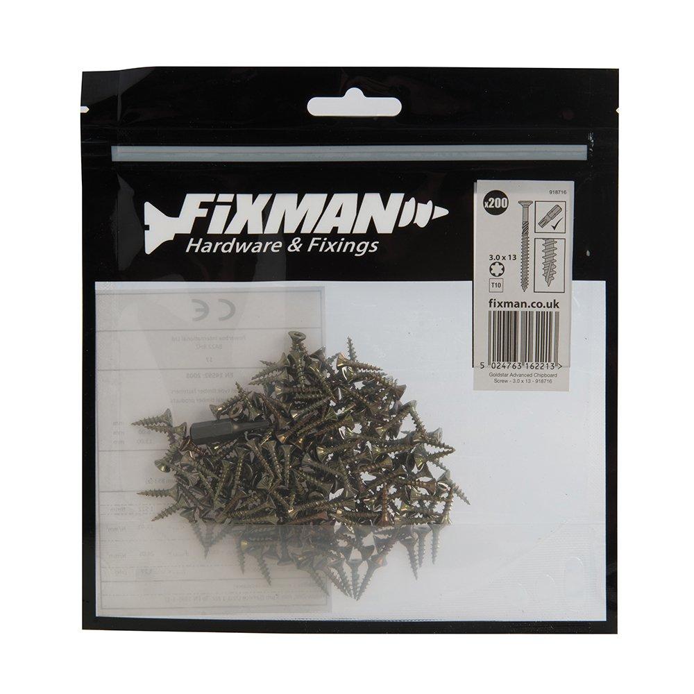 Or 3,5 x 15 mm Fixman 816788 Vis /à bois agglom/ér/é