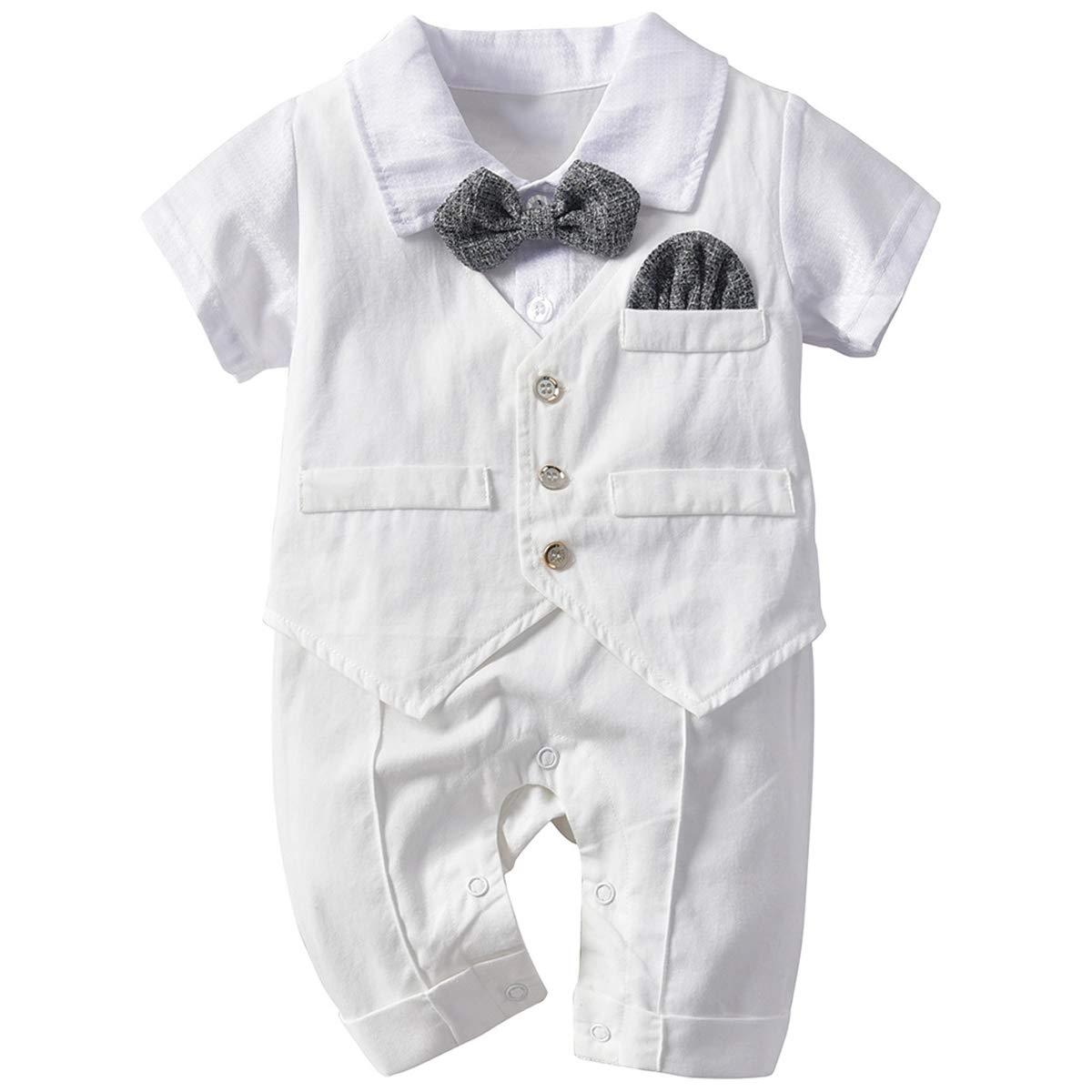 Famuka Baby Junge Festanzug Taufeanzug Sommer Baby Strampler Taufe Hochzeit Babykleidung
