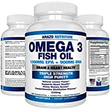 Omega 3 Fish Oil 2250mg | HIGH EPA 1200MG + DHA 900MG Triple Strength Burpless Capsules | Arazo Nutrition (120 Count)