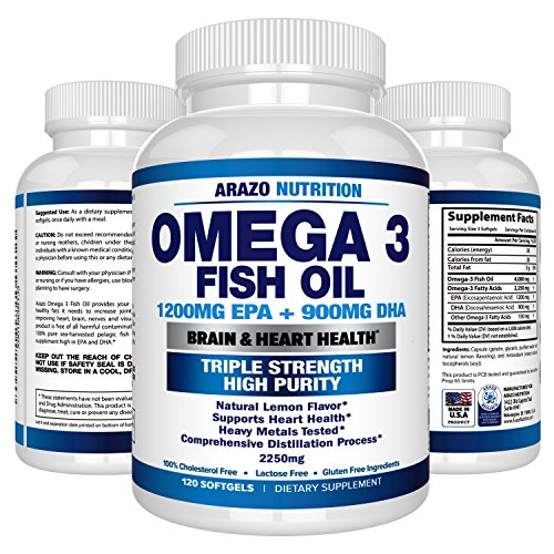 Omega 3 Fish Oil 2250Mg   High Epa 1200Mg   Dha 900Mg Triple Strength Burpless Capsules   120 Pills   Arazo Nutrition