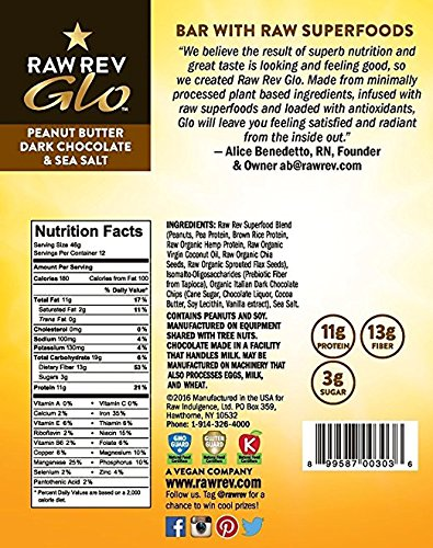 Raw Rev Glo Vegan, Gluten-Free Protein Bars - Peanut Butter Dark Chocolate & Sea Salt 1.6 ounce (Pack of 24) by Raw Rev Glo (Image #3)
