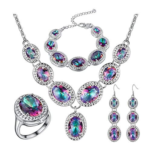 J.MOSUYA Women 925 Sterling Silver Pendant Necklace Rainbow Mystic Topaz Jewellery Multi Color Rhombus bYzZlZucy