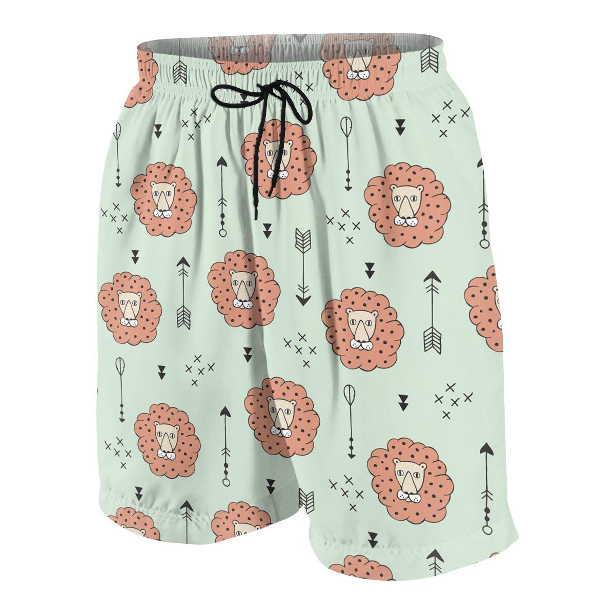 Orange Lion Head Loon Teen Swim Trunks Bathing Suit Shorts Board Beach