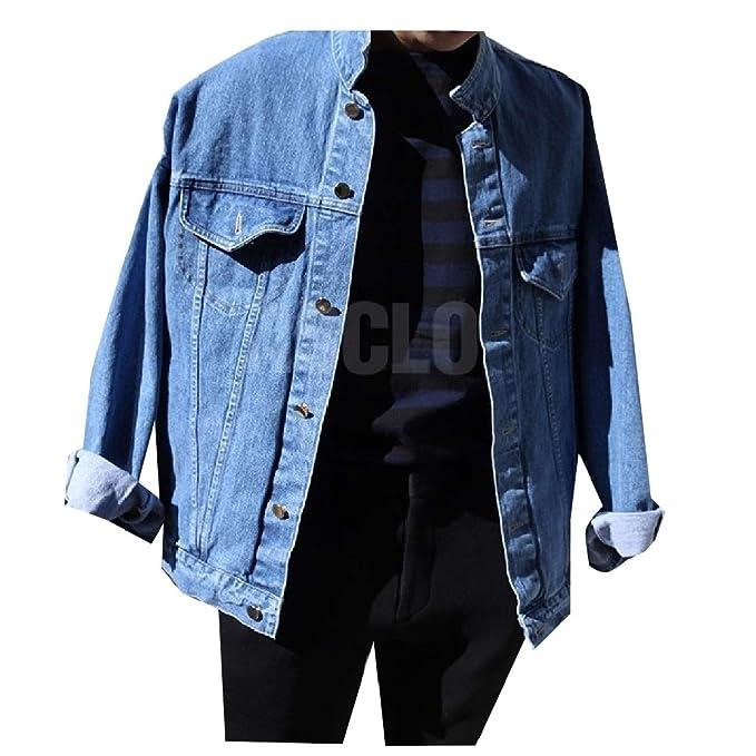 c34104f4f6f38 Comaba Men's Turn Down Collar Fashion Button-Up Vintage Wash Jean ...
