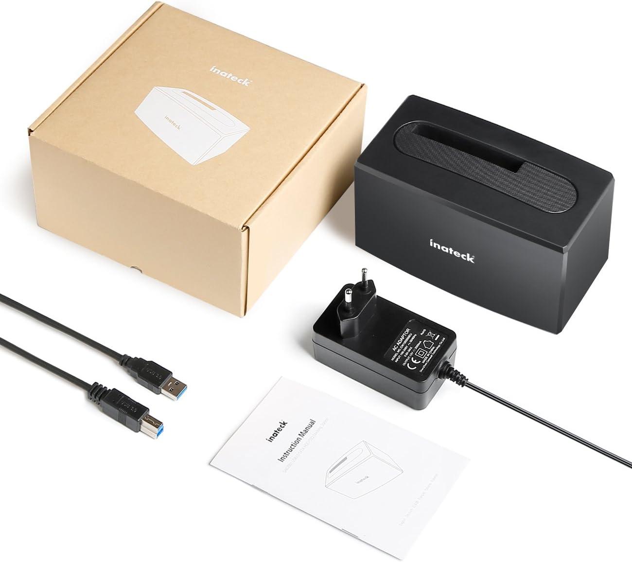 pour Les HDD SSD SATA I//II//III de 2,5 /& 3,5 Pouces Pas Besoin d/'Outil,SA02001 Inateck Station d/'Accueil de Disque Dur /à 1 Baie Compatible avec UASP et Disques de 10 to