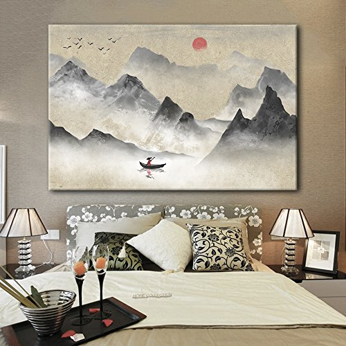 Chinese Ink Painting Style Landscape with Mountains and River with The Rising Sun