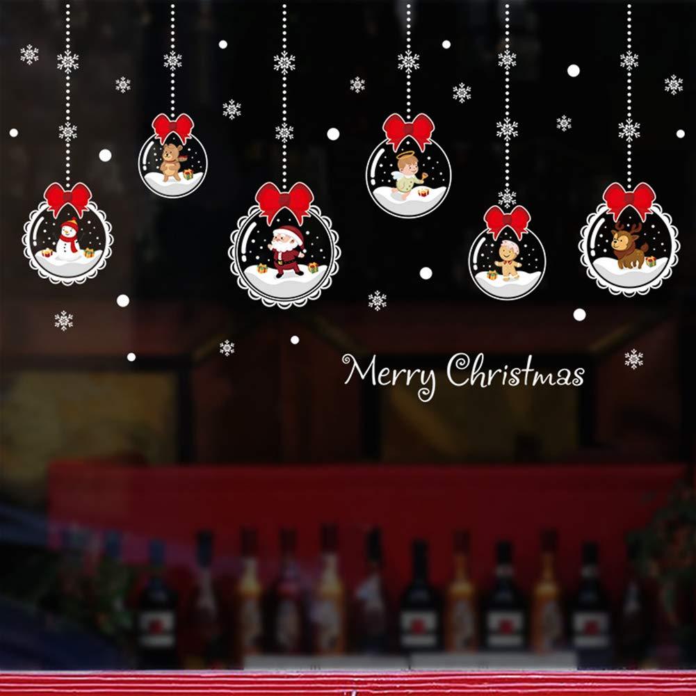 Slri SIridescentZB Adesivo murale di Merry Christmas, Decorazioni per vetrine di Babbo Natale