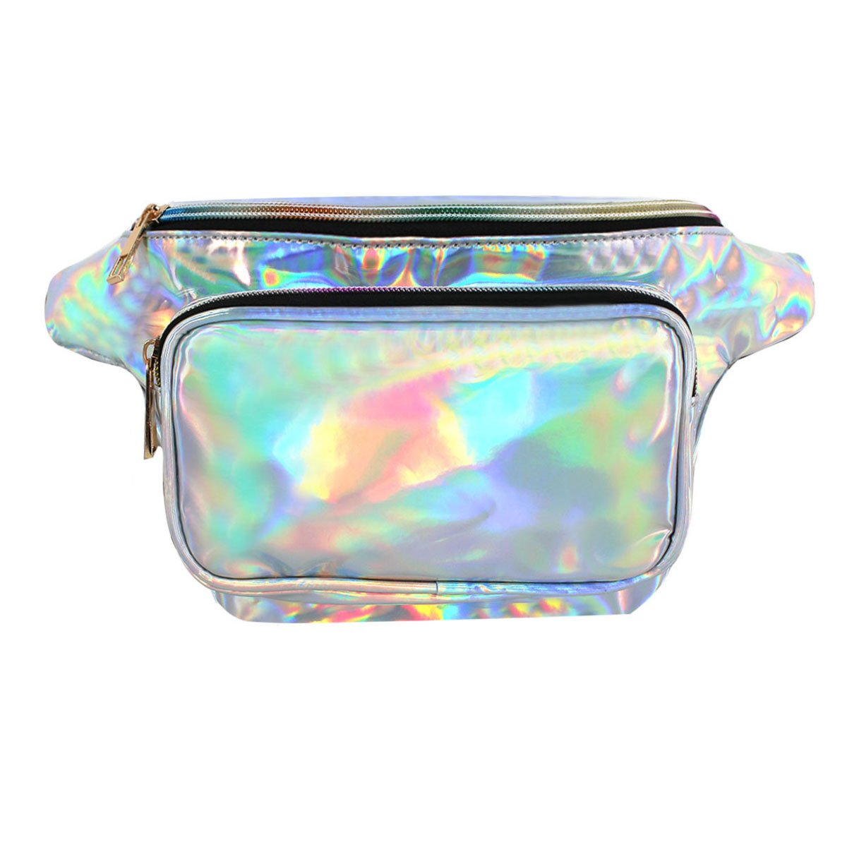 AiSi Women's PVC Hologram Fanny Pack Bum Bag Waist Bag Hiking Pack Bike Pack Silver Waist Bag AYDBL-hjb132-04m
