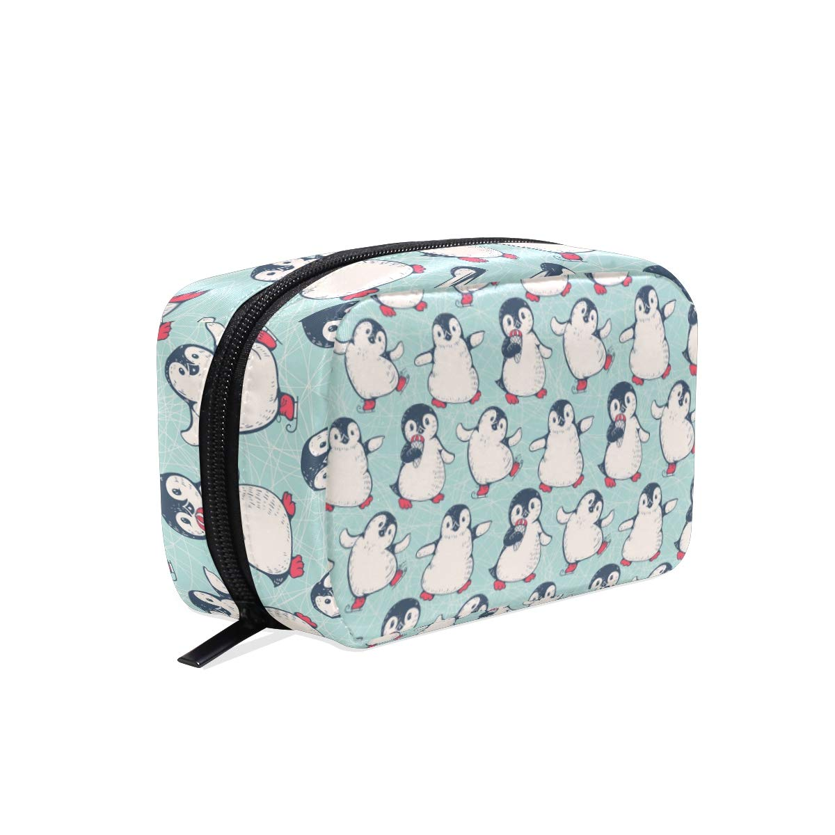 ZZAEO Cute Baby Penguin Makeup Bag Cute Printing Mini Cosmetic Case Organizer Travel Accessories Toiletry Beauty Pouch for Women Teens Girls