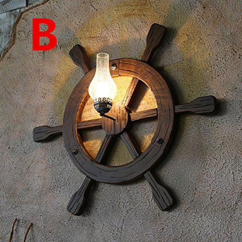 Archaize Originality Solid Wood Wall Lamp Mediterranean Anchor Rudder Retro Wall Light For Restaurant Coffee House 940940Mm,C Outdoor Kids Living Room Bedroom Wedding Birthday Party Gift by GAW Lighting Co.Ltd (Image #2)