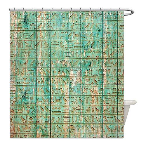 Diy Mummy Costume Ideas (Liguo88 Custom Waterproof Bathroom Shower Curtain Polyester Egypt Decor Ancient Hyeroglyphs Icons on Wooden Board Mystic Egyptian Mummy Motherland Image Seafoam Decorative bathroom)