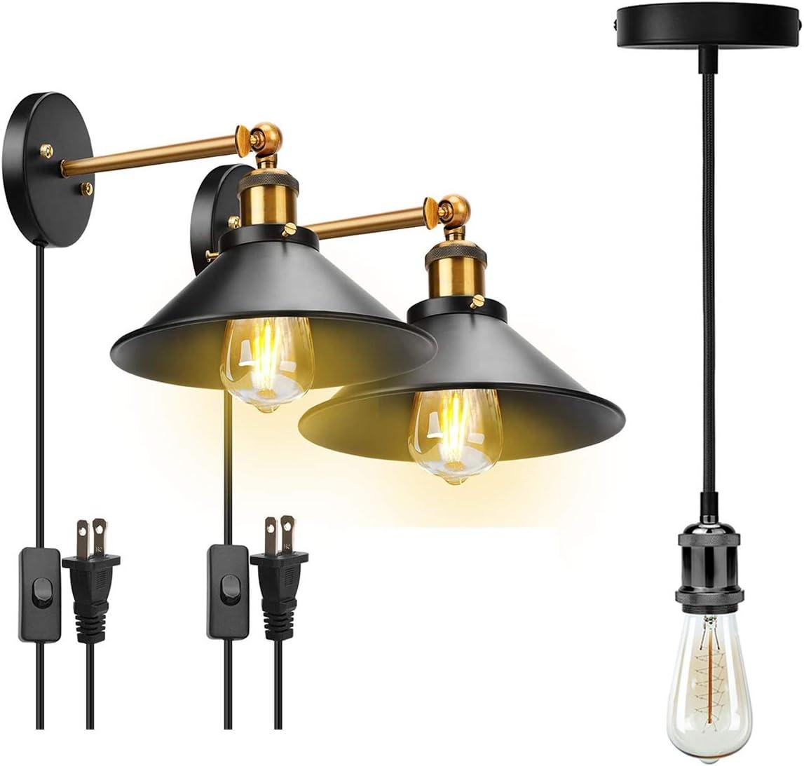 Jackyled Retro Plug In Wall Sconces With Led Bulb Set Of 2 Industrial Mini Pendant Light Set Single Vintage Socket E26 E27 Lampholder Pearl Black Amazon Com