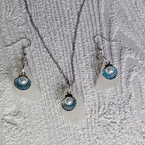 Sea glass jewelry set with shells and pearls