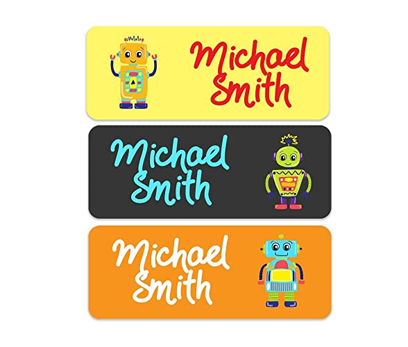 Amazon com: Waterproof Name Labels - Robot Name Labels