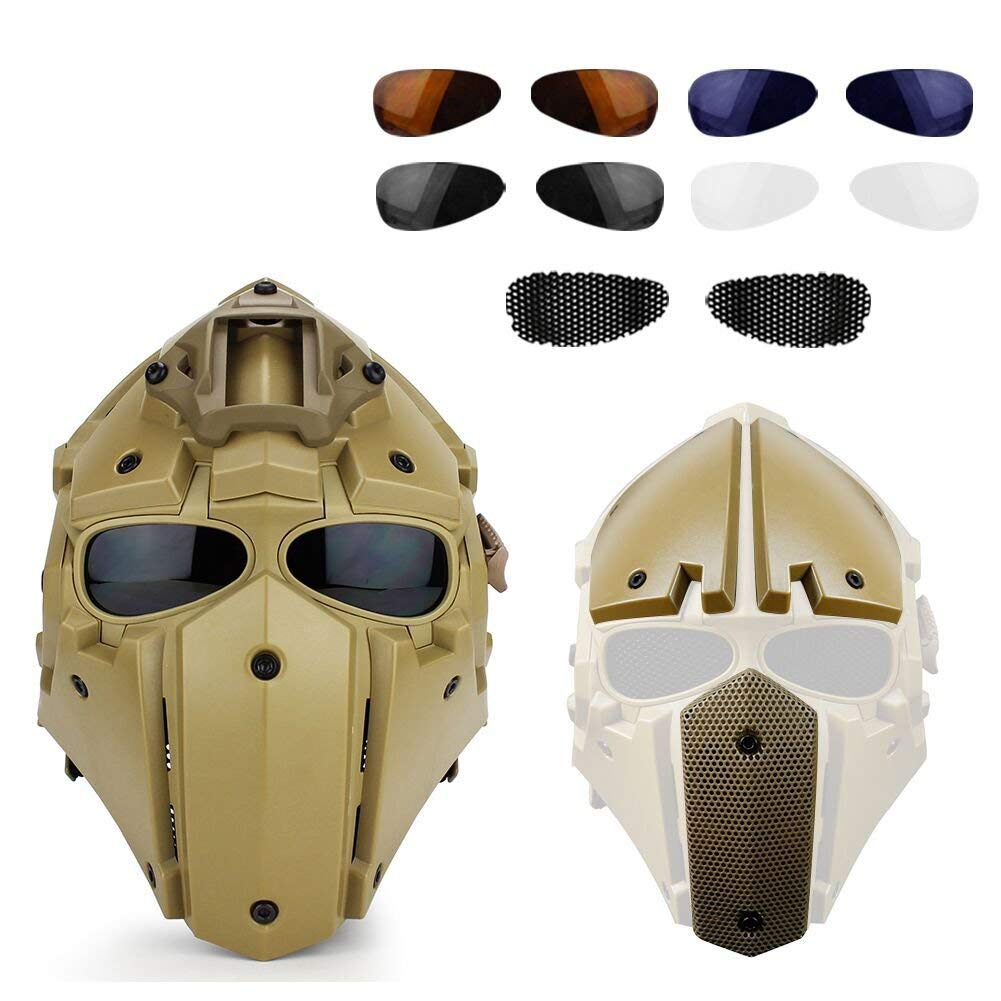 Full Face Protective Obsidian Green GOBL Terminator Helmet & Mask Goggle for Hunting Paintball Military Co splay Movie Prop-(TAN) by Gocher