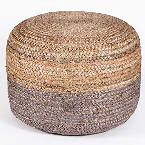 Madeleine Home Hallam Hand Woven Pouf   Stylish Accent Ottoman Pouffe   100% Jute Hassock Floor Cushion for Under Desk, Entry Way, Living Room, Bedroom, Dining   20