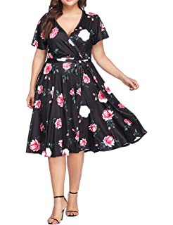 SELUXU Womens Plus Size Dresses Casual Midi Deep V Cross Short Sleeve Fashion Floral Summer Dress