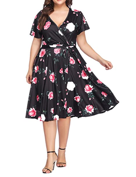 725a3375fe7 SELUXU Women s Plus Size Dresses Casual Midi Deep V Cross Short Sleeve  Fashion Floral Summer Dress