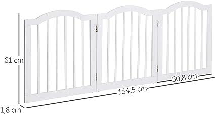 Pawhut Barrera de Seguridad Modulable para Mascotas de 3 Paneles Pantalla Barrera de Protecci/ón con Sistema Flex de Madera Maciza 154,5x1,8x61 cm Blanco