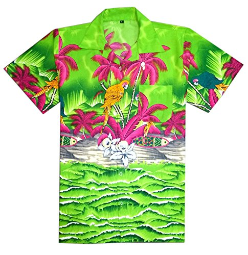 Virgin Crafts Hawaiian Shirt for Men's Short Sleeve Printed Casual Beach (Hawaiian Short Sleeve Shorts)