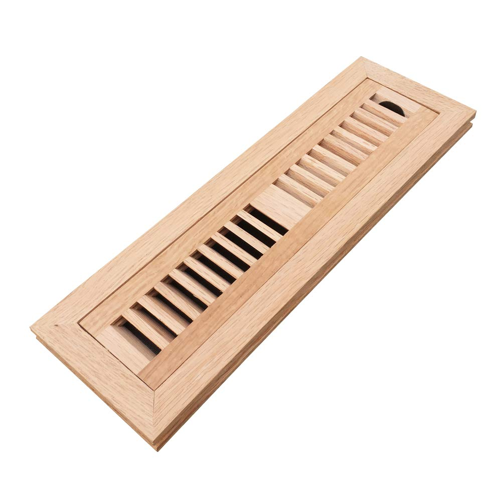 Homewell Red Oak Wood Floor Register Vent Cover, Flush Mount Vent with Damper, 2X12 Inch, Unfinished - - Amazon.com