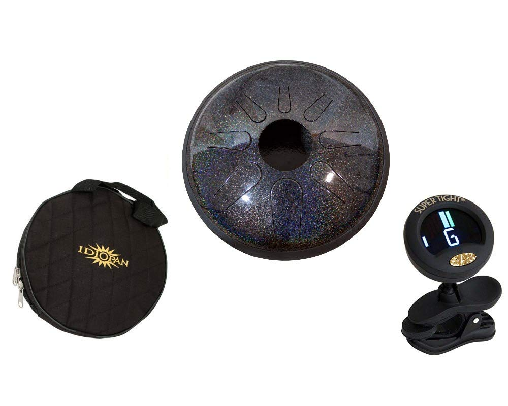 Idiopan Domina Steel Drum Package Includes: 12'' Tunable Steel Tongue Drum - Onyx Rainbow + Idiopan 12'' Standard Gig Bag For Tongue Drum & Chromatic Tuner by Idiopan