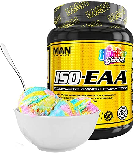 Man Sports Iso EAA. Rainbow Sherbet Flavored Hydration Electrolyte Powder with BCAA Amino Acids for Muscle Recovery, Endurance, and Hydration