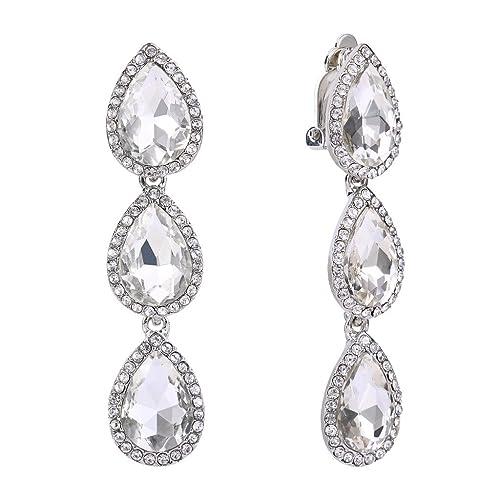 EleQueen Women's Austrian Crystal Teardrop Pear Shape 2.4 Inch Long Clip-on Dangle Earrings