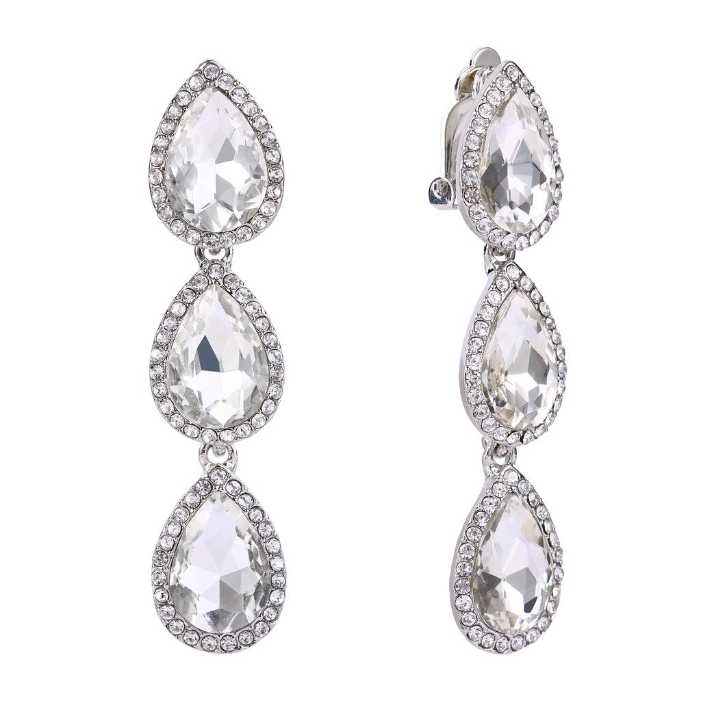 EleQueen Women's Silver-tone Austrian Crystal Teardrop Pear Shape 2.4 Inch Long Clip-on Dangle Earrings Clear