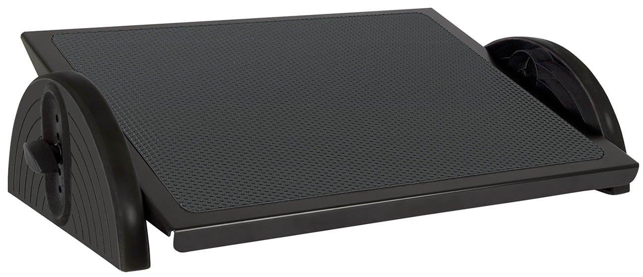 Wedo 2755001 Fußstütze Relax Steel, Stahlblech Trittplatte, höhenverstellbar in 5 Stufen, rutschfest, Gummifüße, GS geprüft, schwarz