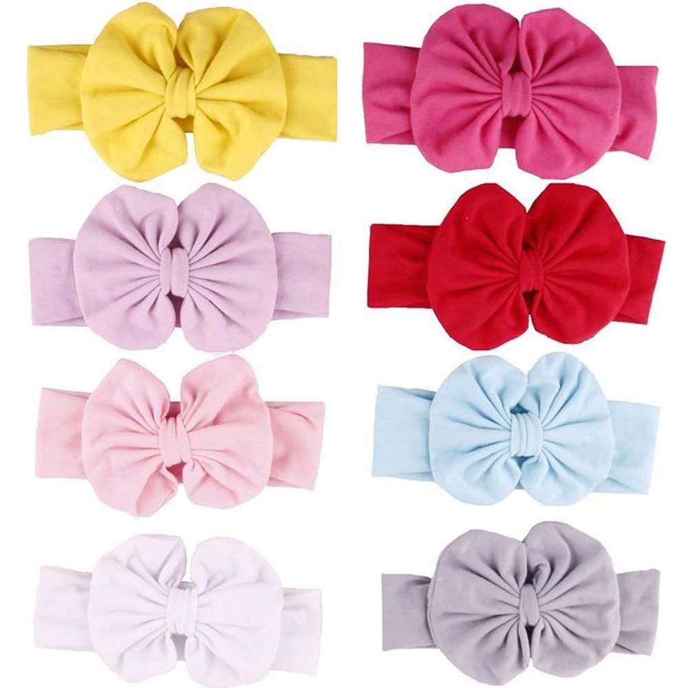 LifeFly 8 Pcs Baby Girl Newest Turban Headband Girl\'s Soft Headbands with Bows