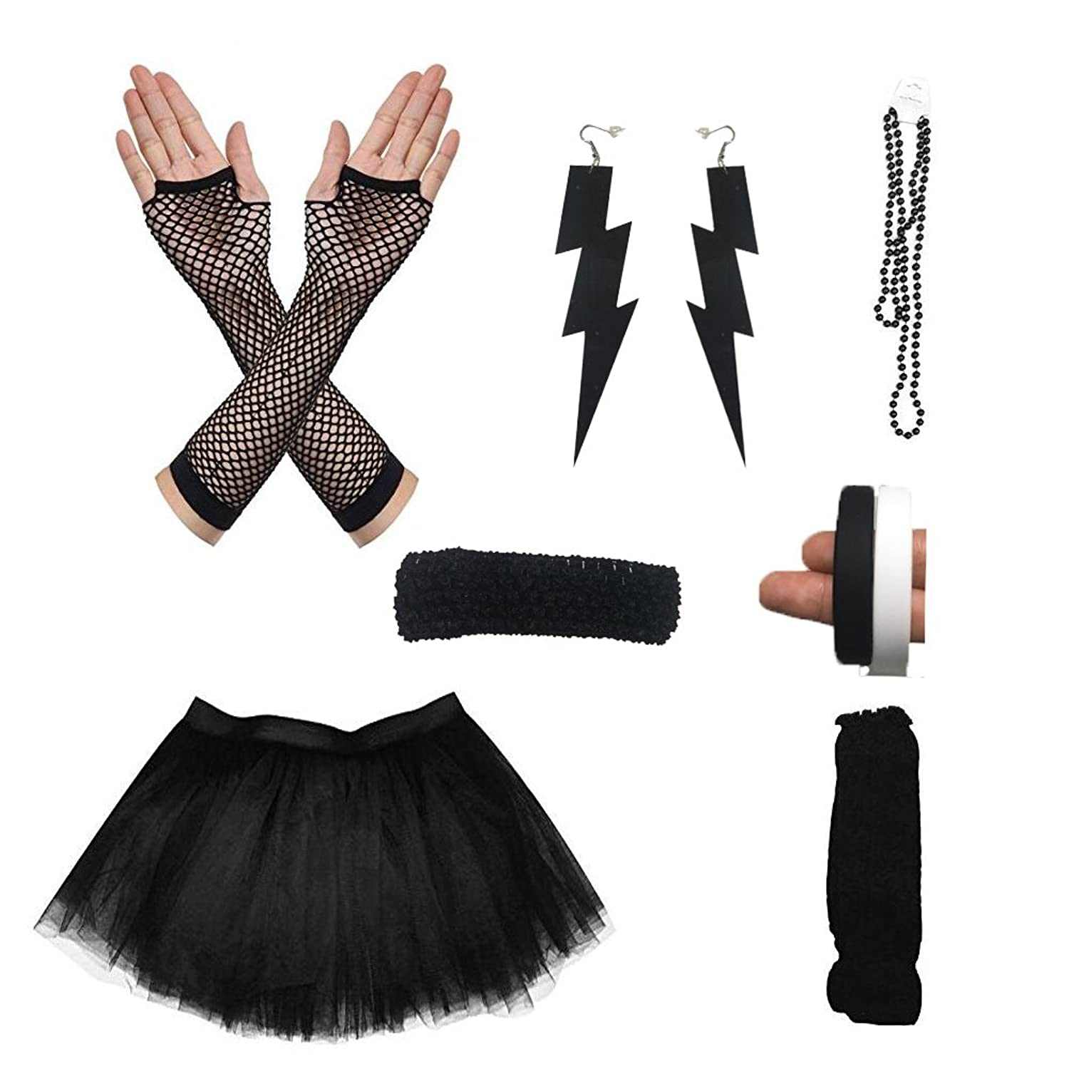 d931589f676d ... Beads, Fishnet Gloves, black and white bracelets, Earings, neon  headband 3-Layered tulle tutu skirt: the color is matching with the  accessoies