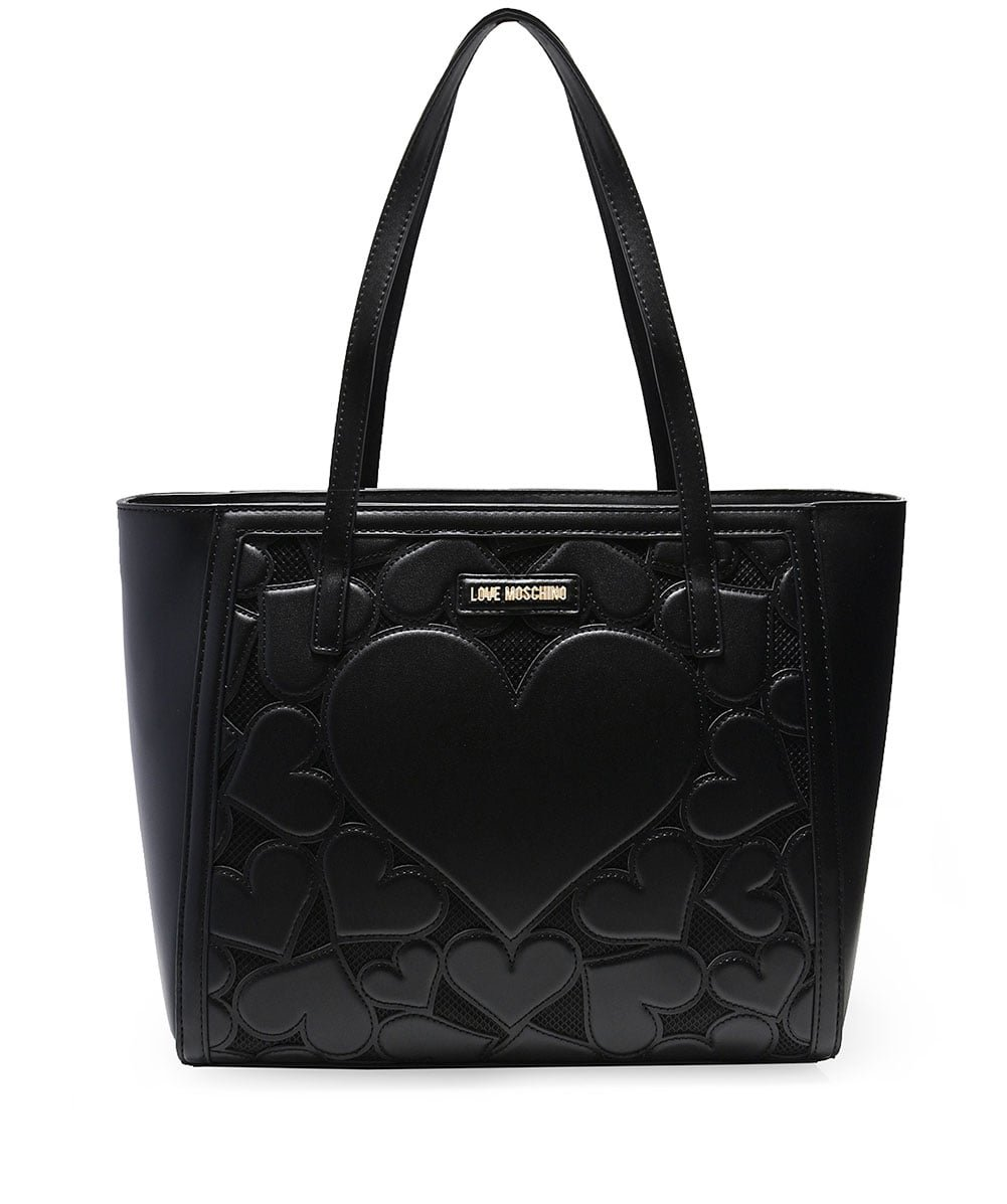 Love Moschino Women's Leather Medium Textured Tote Bag Black One Size