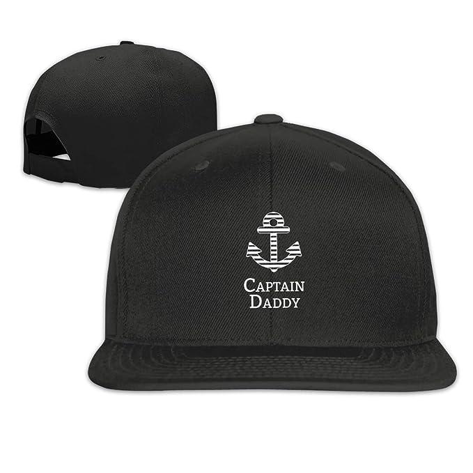cffab5770d22a Captain Daddy Classic Adult Cap Flat Along Baseball Snapback Cap Unisex  Adjustable Black