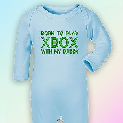 Born To Play Xbox con My Daddy – bordado Pelele de, en color azul turquesa