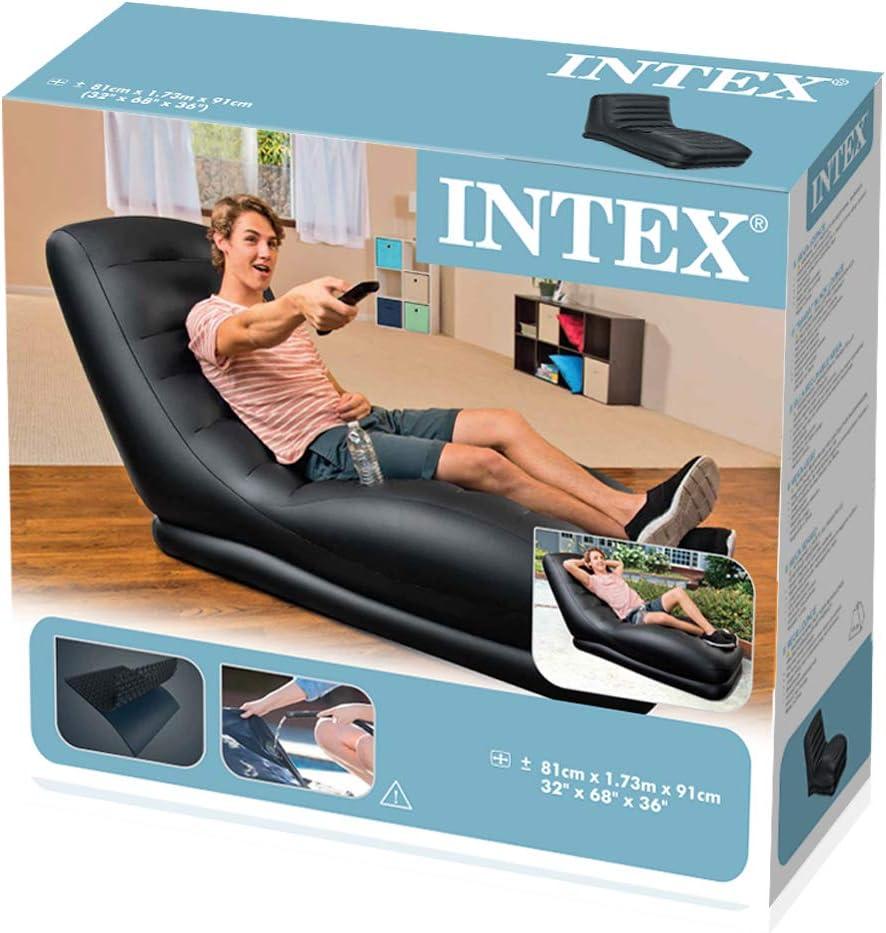Intex poltrona lettino gonfiabile vinile nero mega chaise lounge relax 68585np