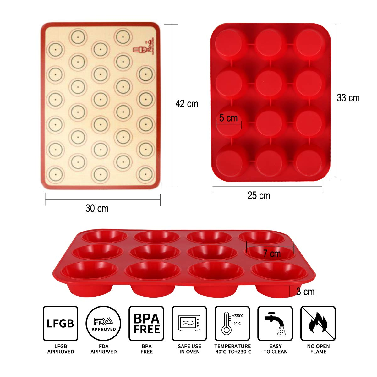 Non-Stick Muffin Cupcake Tin Red Baking Mould for Muffins or Cupcakes Bakeware 33 x 25 x 3 cm Large Muffin Tray 12 Cup Silicone Muffin Pan