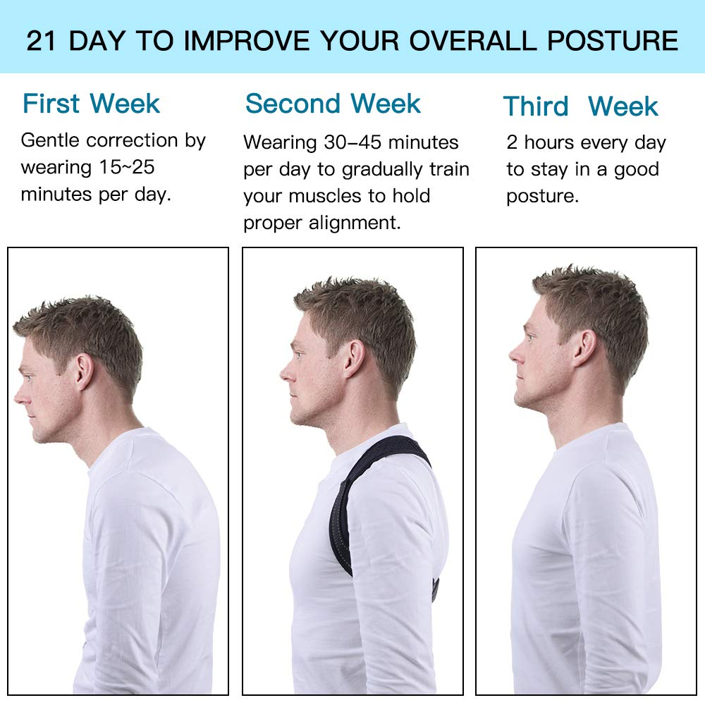 Correcteur de Posture Dos,Ajustable Respirant Corset Redresse Sangle Dos,Permet de corriger la Posture et d'atténuer Les douleurs au Dos et aux épaules pour Femme et Homme