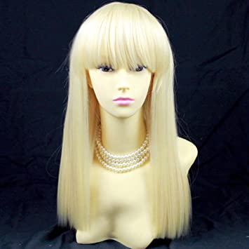 Perücke Sexy Lang Blond Klar Base Frisur Damen Fransen