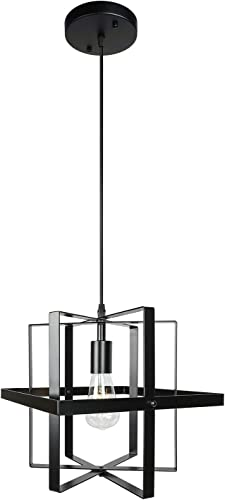 1 Light Farmhouse Industrial Pendant Lighting Black Modern Chandelier