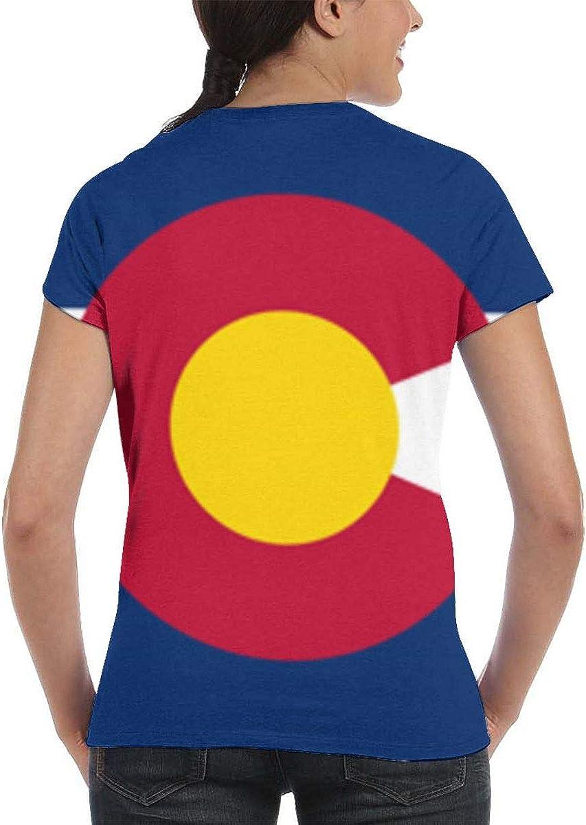 NuoKeSi Network Colorado Flag Womens Fashion Round Neck Loose Sports Casual T-Shirt Wild Short Sleeve