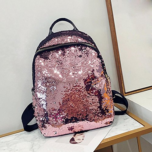 Daypack Fashion for Backpack Casual Pink Teen Rucksack Saihui Sequin Bling School Stylish Shopping Girl Woman Travel Sparkle Glitter Shiny Women Purple Girls Bags OOrcBRg