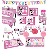 Party City 1st Birthday Minnie Mouse Deluxe Party Kit for 32 Guests, Includes High Chair Decorating Kit, Candle and More