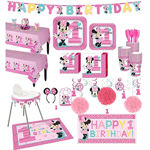 Party City 1st Birthday Minnie Mouse Deluxe Party Kit for 32 Guests, Includes High Chair Decorating Kit, Candle and More ()