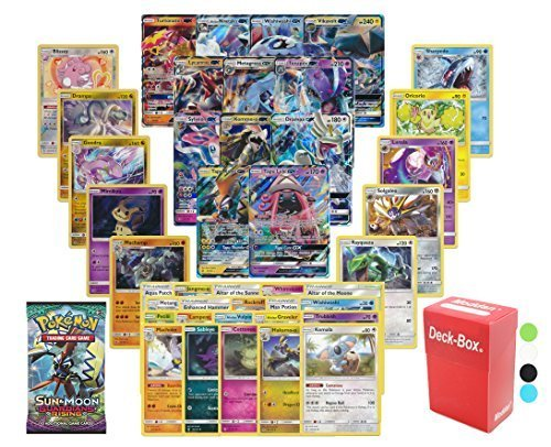 Pokemon GX Guaranteed with Sun and Moon Guardian Rising Booster Pack, 5 Holo/Reverse Holo Cards, 5 Rare Cards, 20 Regular Pokemon Cards, Deck Box and (Bonus Booster)