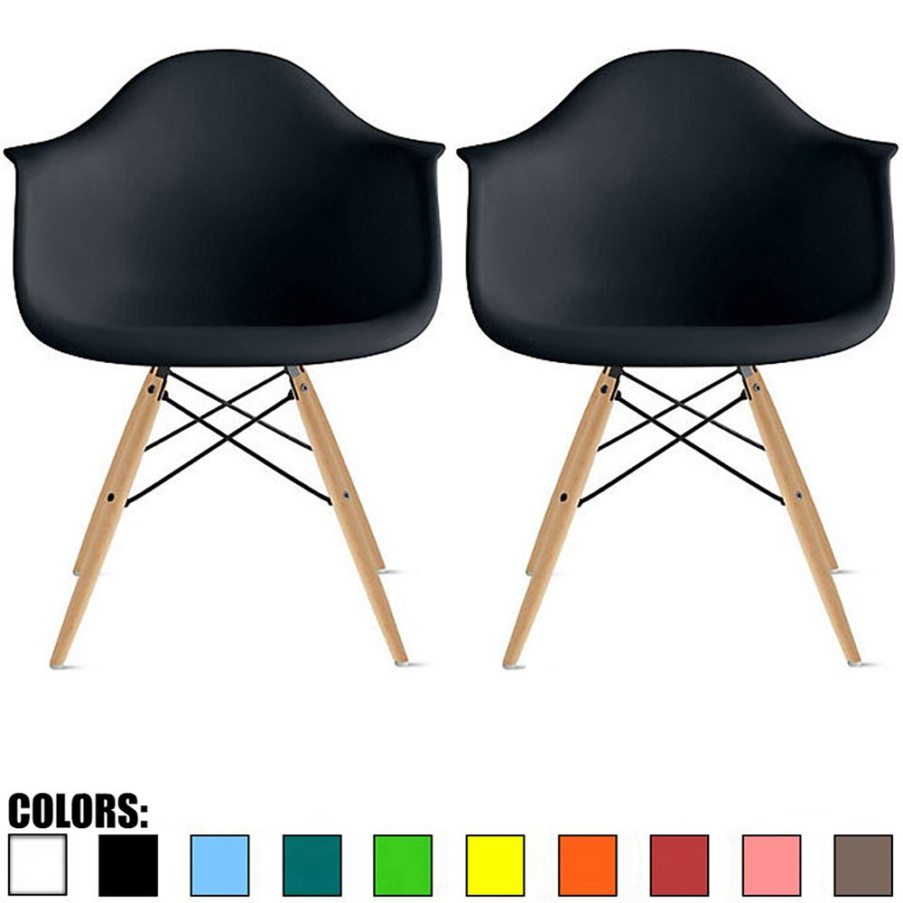 2xhome Set of 2 Black Plastic Armchair Natural Wood Legs Eiffel Dining Room Chair Lounge Chair Arm Chair Arms Chairs Seats Wooden Wood Leg (Black - Natural Leg)