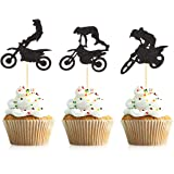Donoter 48 Pcs Motocross Cupcake Toppers for Dirt Bike Themed Birthday Party Cake Decorations