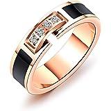 Rockyu ジュエリー ブランド リングレディース ピンクゴールド 18K 指輪 ベルト ステンレス 環状 ジルコニア キラキラ