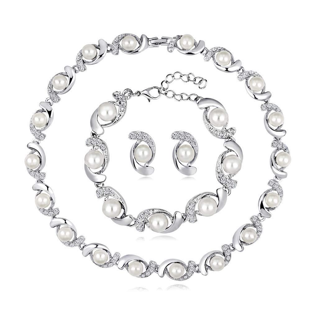 Collar Colgante Conjunto de joyer/ía Nupcial de Boda para Mujere Ogquaton Collar de Gargantilla de Perlas de imitaci/ón para Mujer Pendientes de Pulsera Pendiente de Diamantes de imitaci/ón de Cristal
