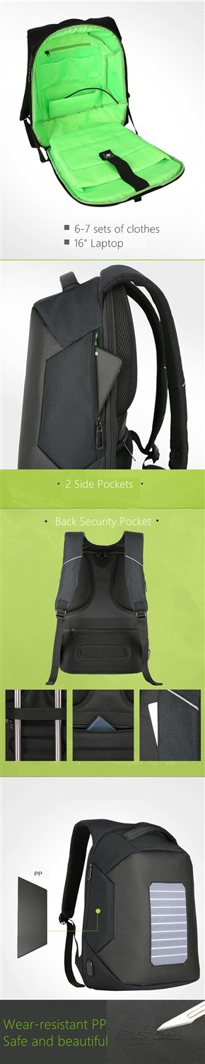 Waterproof Solar Charing Anti-theft 16'' Laptop Backpack ( Color : Black )